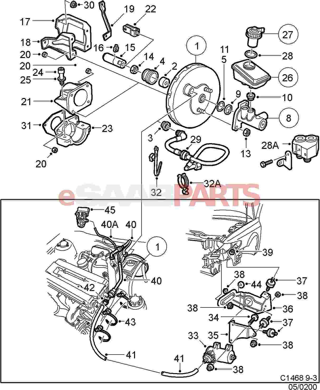 4543872] saab brake servo genuine saab parts from esaabparts com