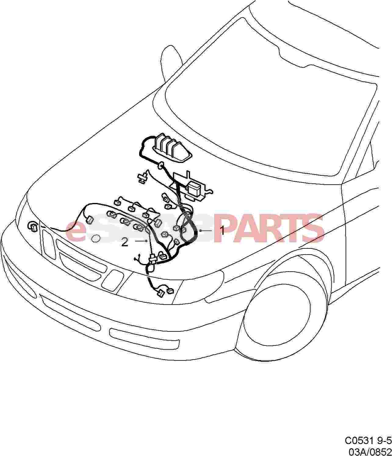 Saab 9 5 9600 Electrical Parts Wiring Harness Clipart Engine
