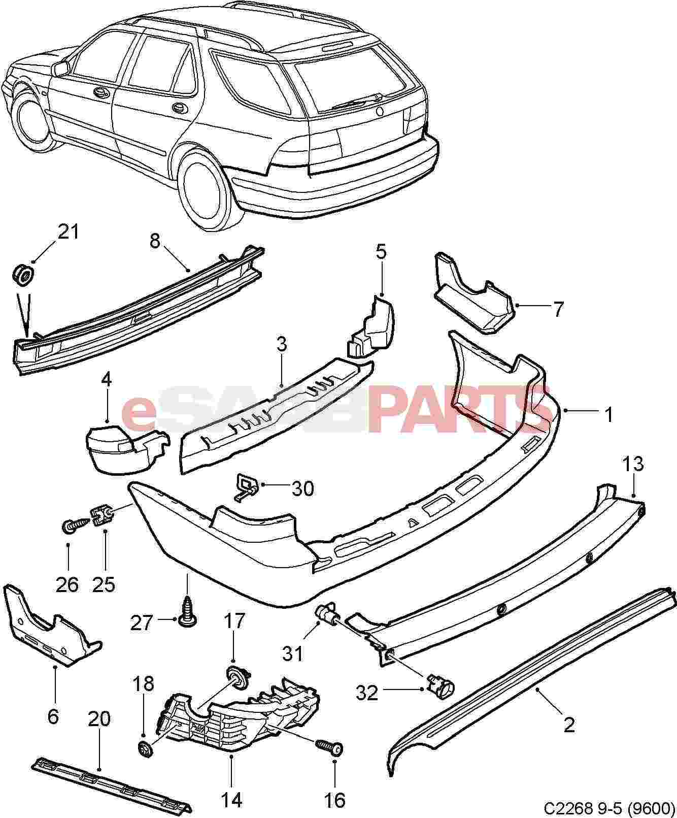 Diagram Of Spoiler further Mini Cooper Sensors moreover Tesla Front Bumper Parts Diagram also Search also 404720. on 2003 saab 9 3 rear bumper