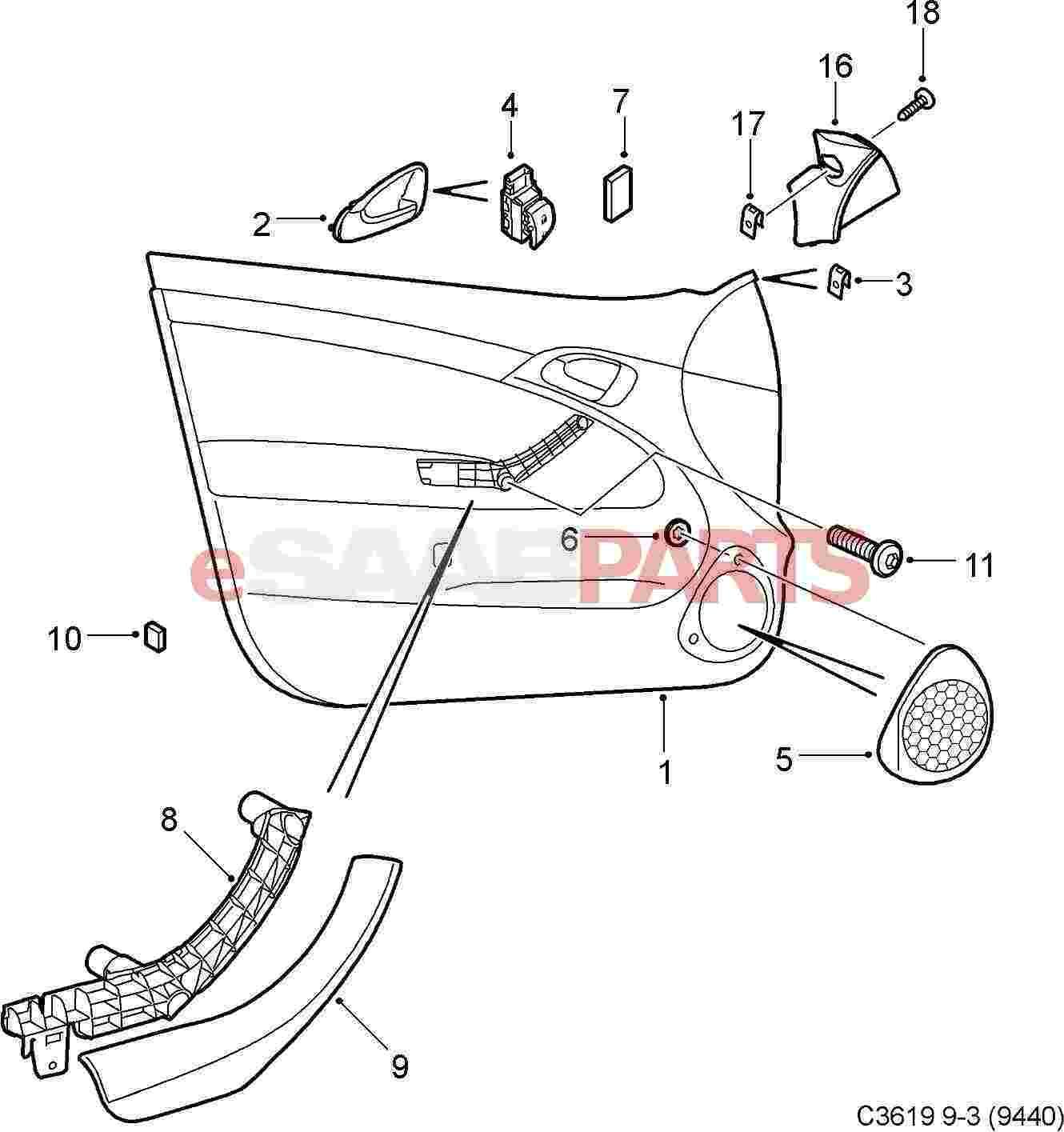 12803219  saab inner door handle - front lh