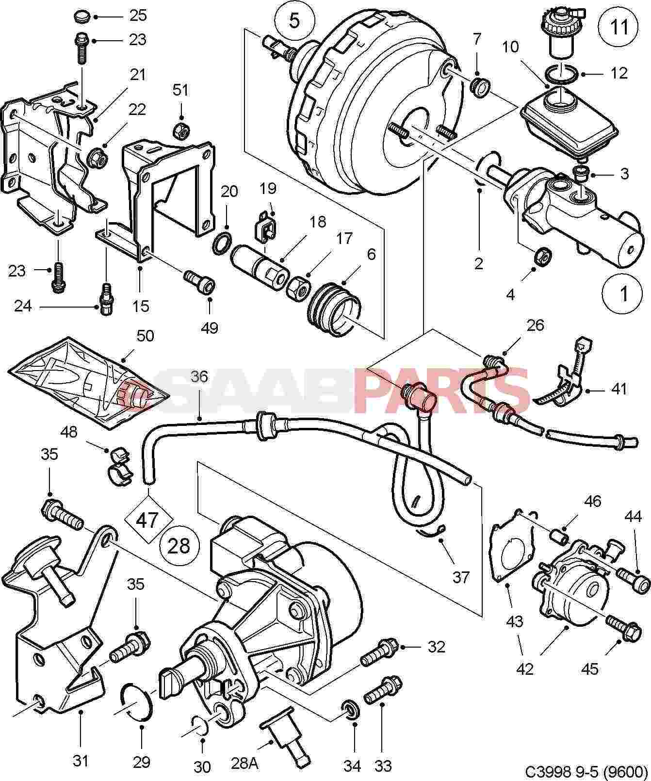 5390844] saab brake booster servo genuine saab parts fromSaab Brakes Diagram #12