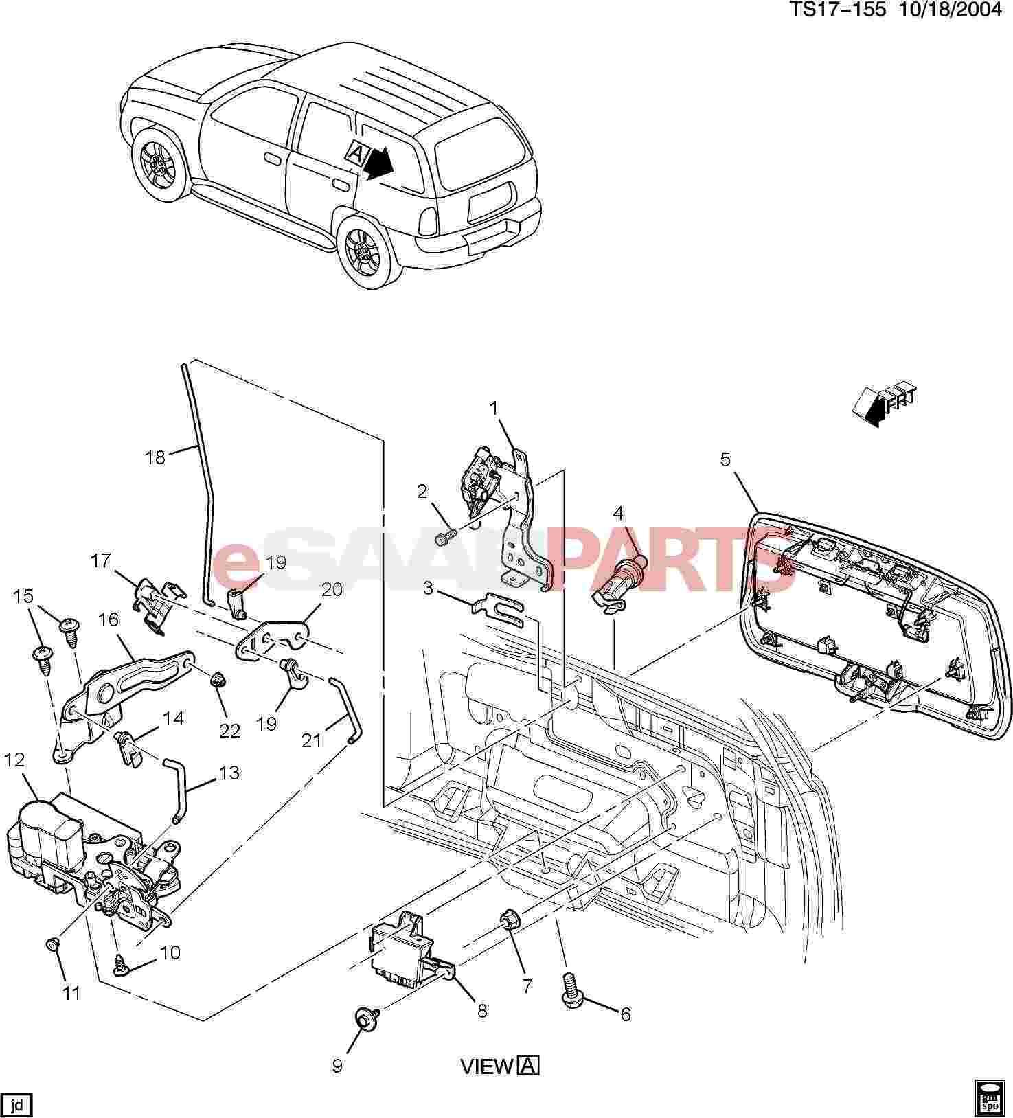 available part diagrams 7 in body hardware lift gate wiringesaabparts com saab 9 7x \\u003e car body external parts \\u003e trunk available part diagrams 7 in body hardware lift gate