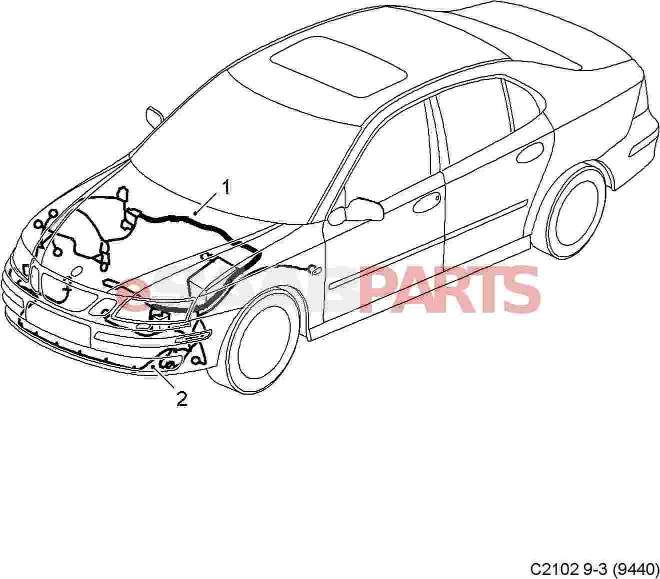 eSaabParts.com - Saab 9-3 (9440) > Electrical Parts > Wiring Harness: Front  Bumper > Front