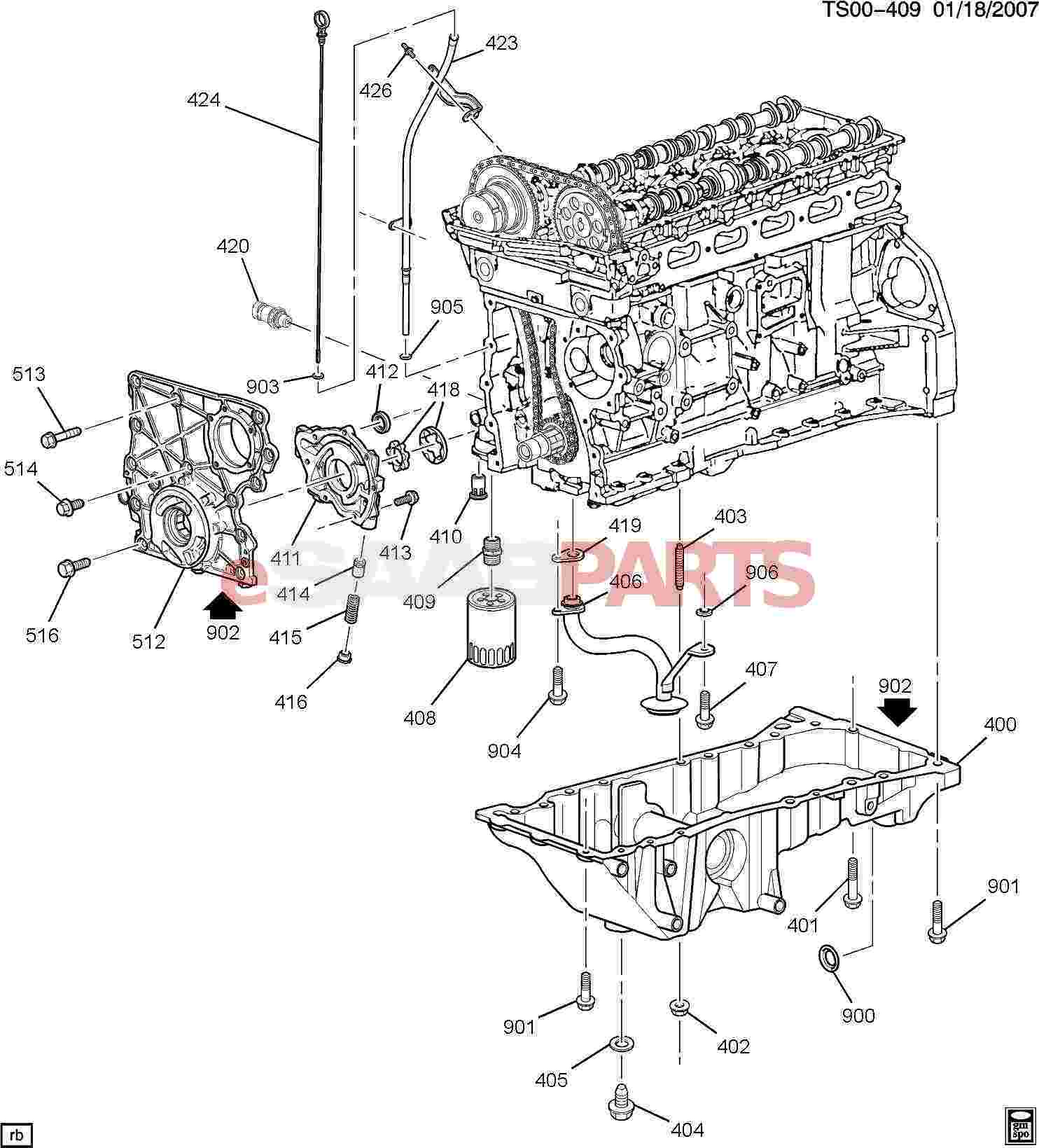 eSaabParts.com - Saab 9-7x > Engine Parts > Engine Internal 4.2S > Engine  ASM-4.2L L6 Part 4 Oil Pump, Pan And Related Parts (4.2S)