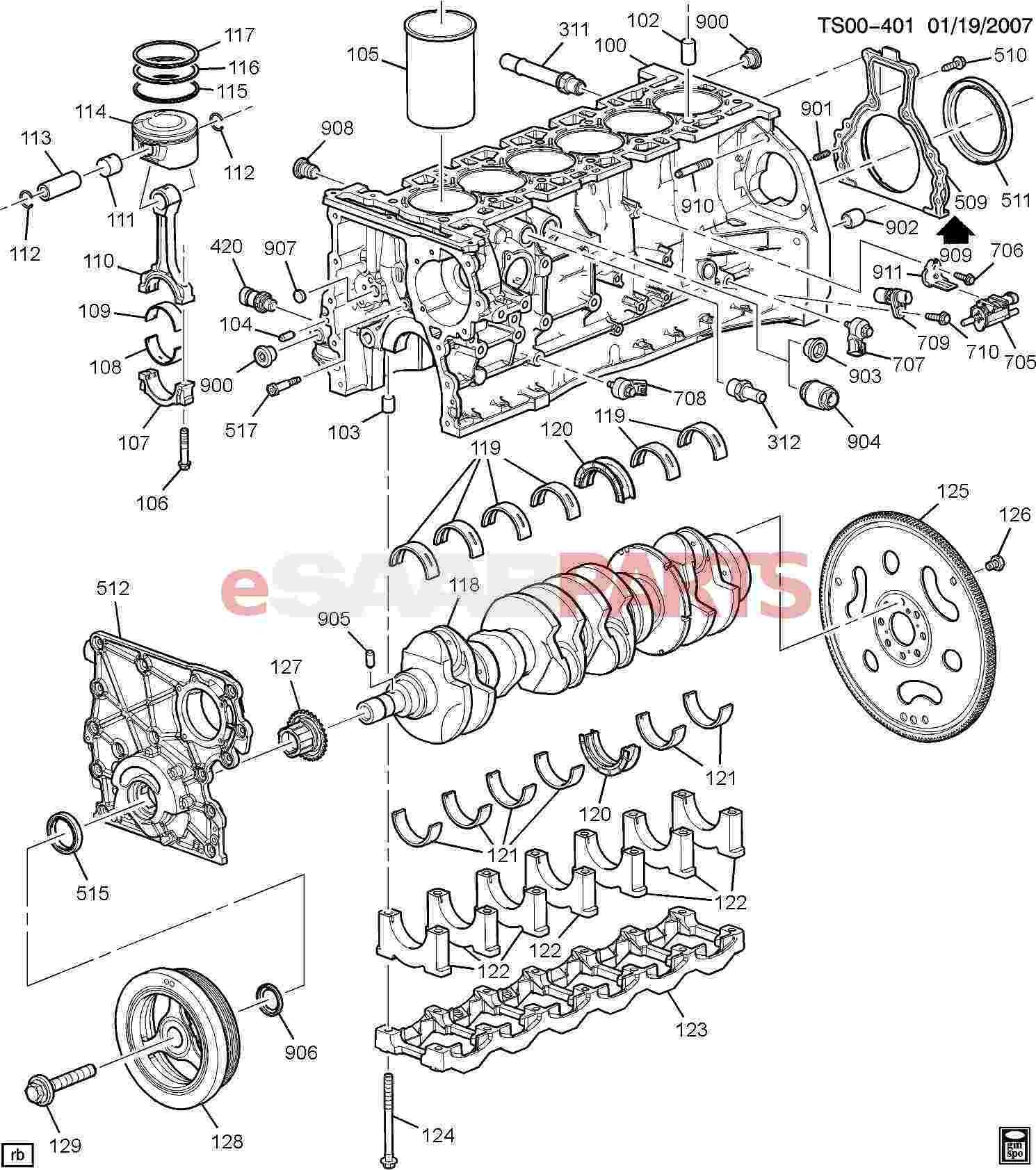 eSaabParts.com - Saab 9-7x > Engine Parts > Engine Internal 4.2S > Engine  ASM-4.2L L6 Part 1 Block And Internal Parts (4.2S)