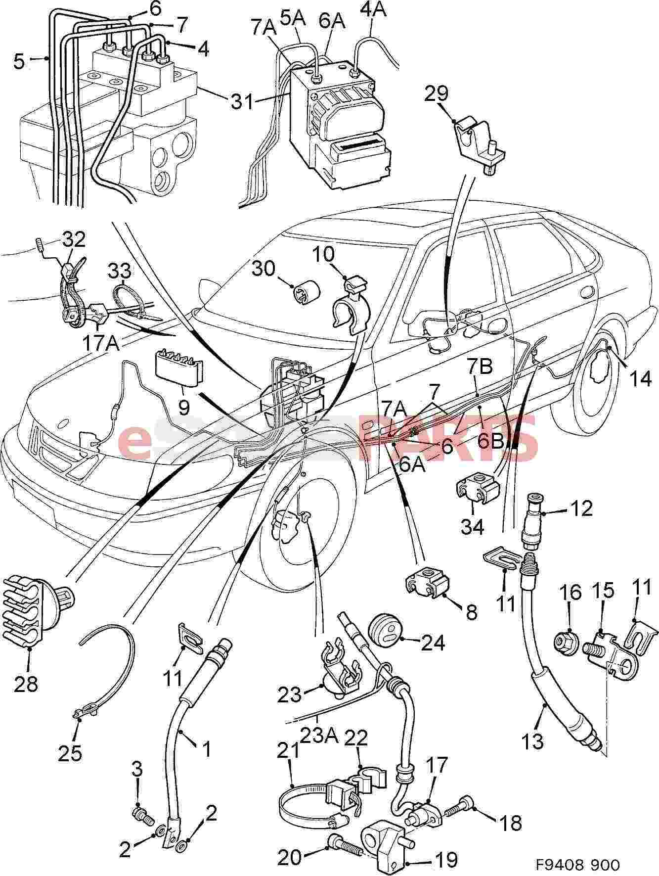 service manual  1992 saab 900 diagram showing brake line