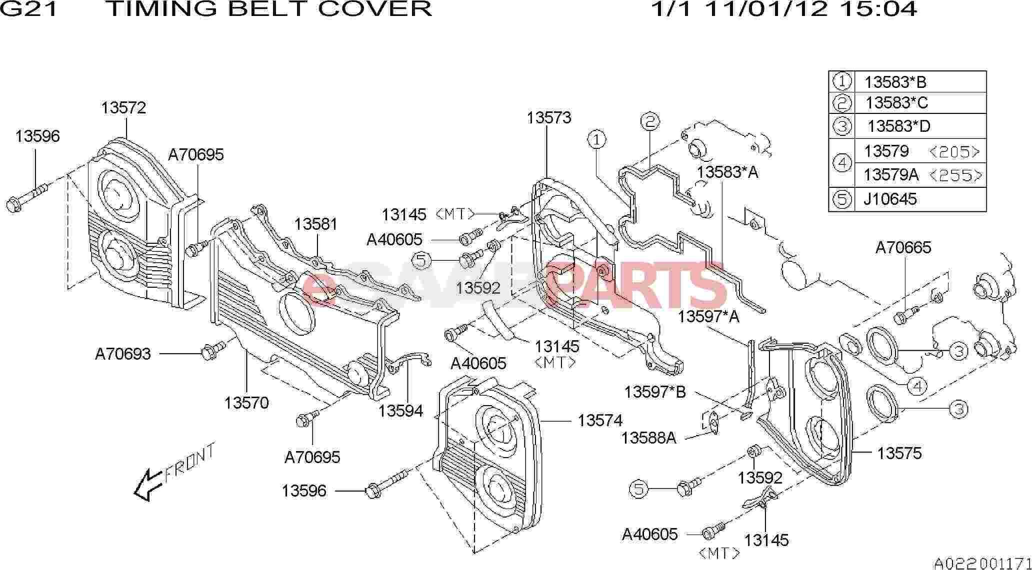 32005656  saab cover-belt  front