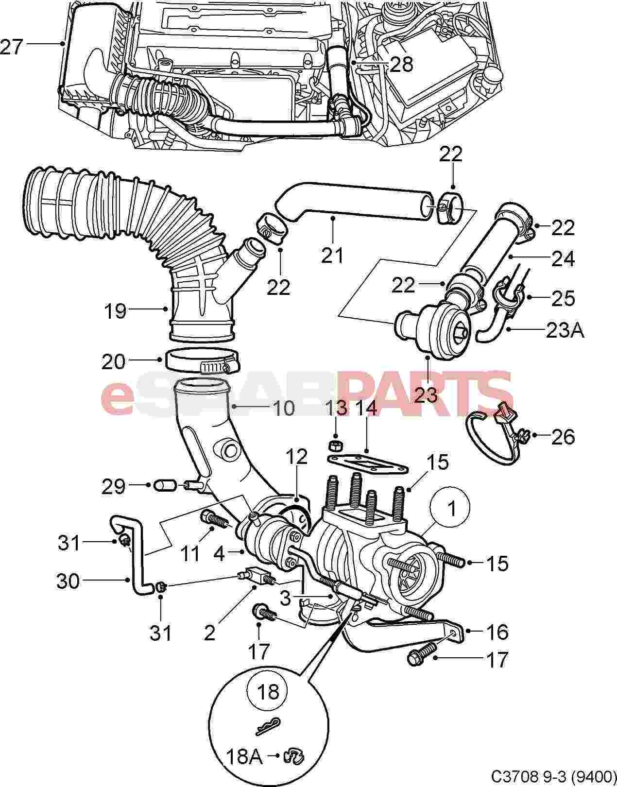 saab 9 3 engine diagram  saab  auto parts catalog and diagram