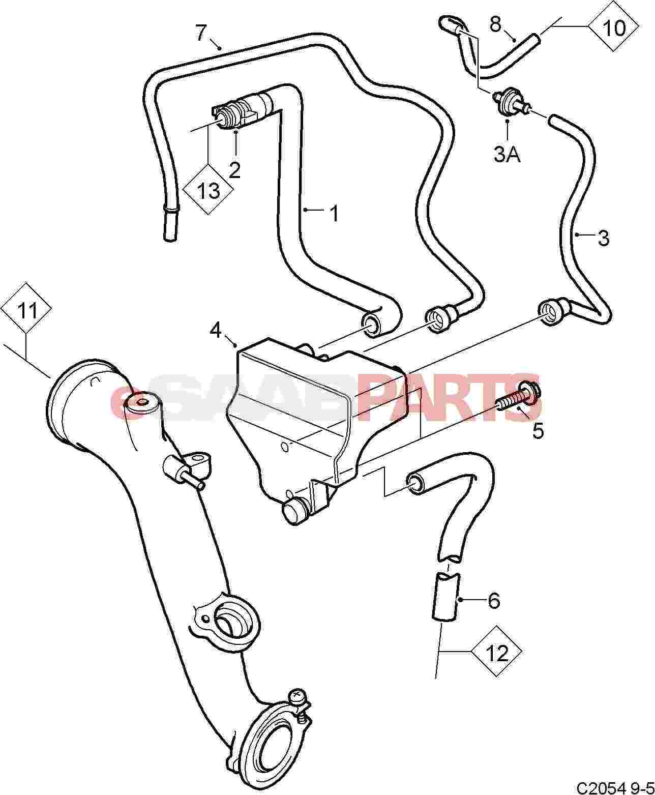 55560445  Saab Pcv Breather Hose - Lower  Pcv Box To Oil Pan