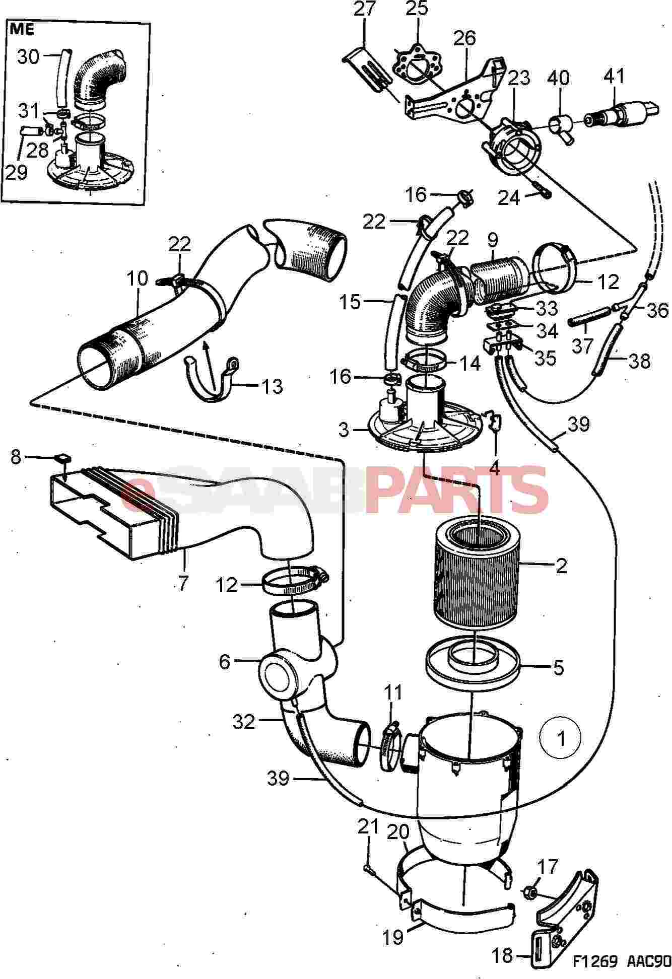 Saab 900 Engine Parts Air Filters Related Filter Diagram Cleaner Carburettor