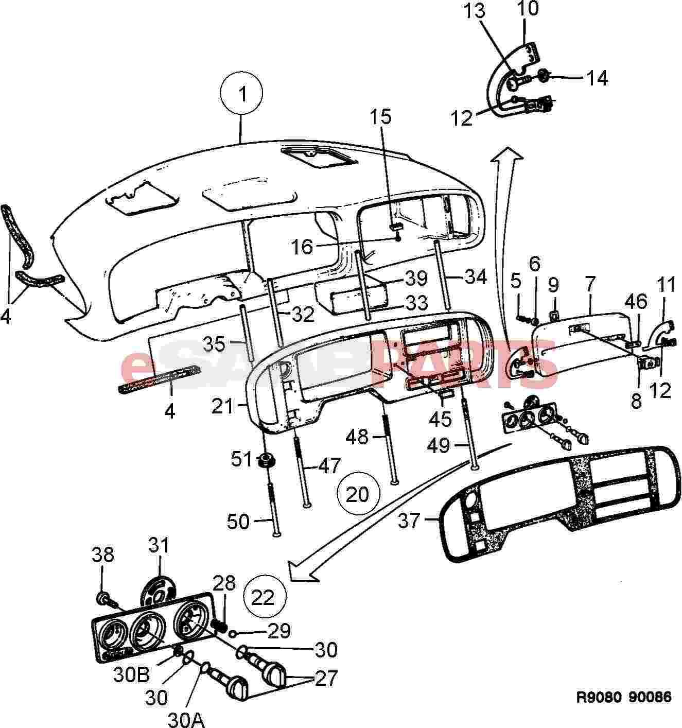 esaabparts com saab 900 \u003e car body internal parts \u003e dashesaabparts com saab 900 \u003e car body internal parts \u003e dash \u0026 related \u003e panel upper instrument plate