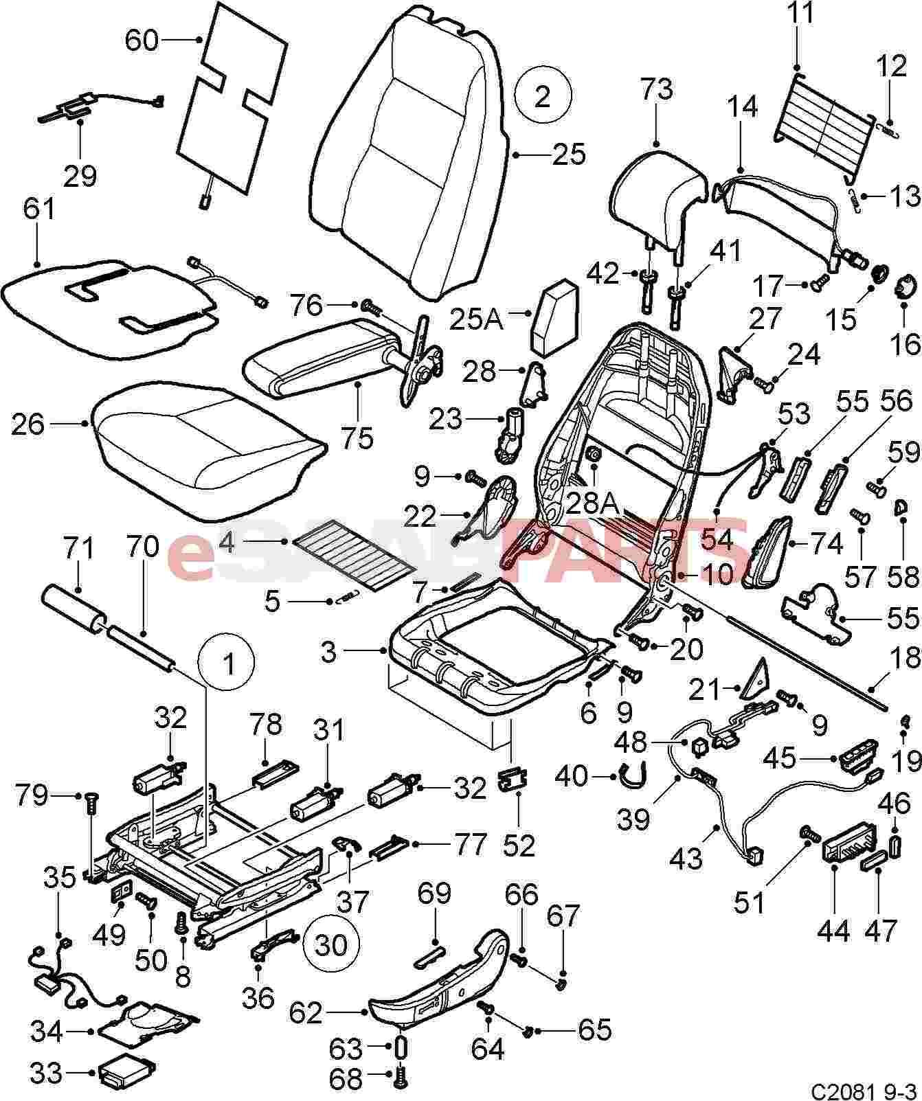 esaabparts saab 9 3 9400 car body internal parts seat Crane Wiring Diagram esaabparts saab 9 3 9400 car body internal parts seat assembly front electrical front seats