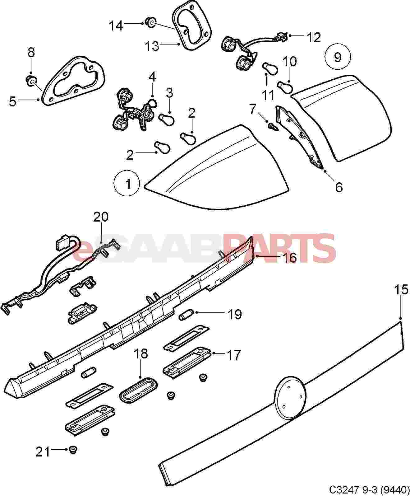 Saab 9 3 9440 Electrical Parts Tail Lights 93 Rear Light Wiring Diagram Cv 08 12