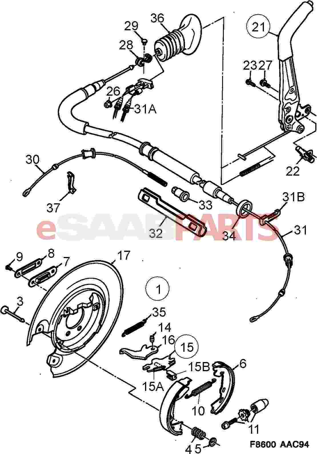 1992 saab 900 diagram showing brake line