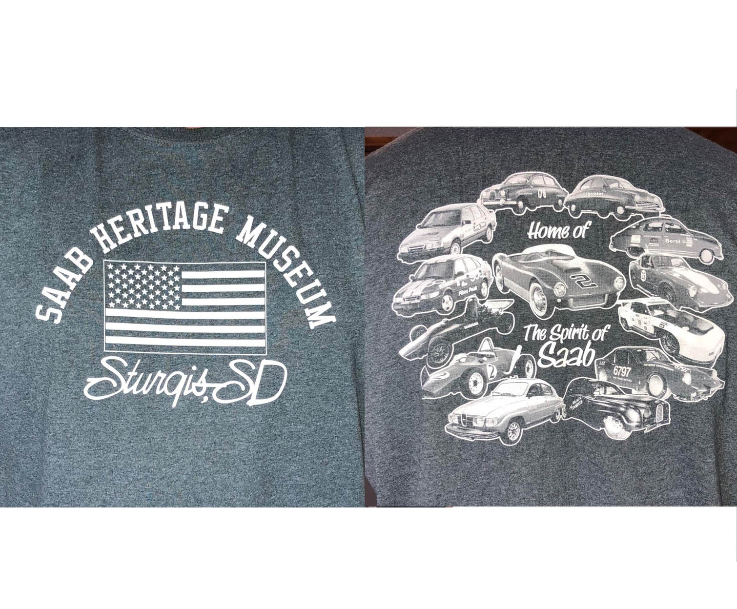 Saab Heritage Museum USA T-Shirt (Grey) Small (MENS)