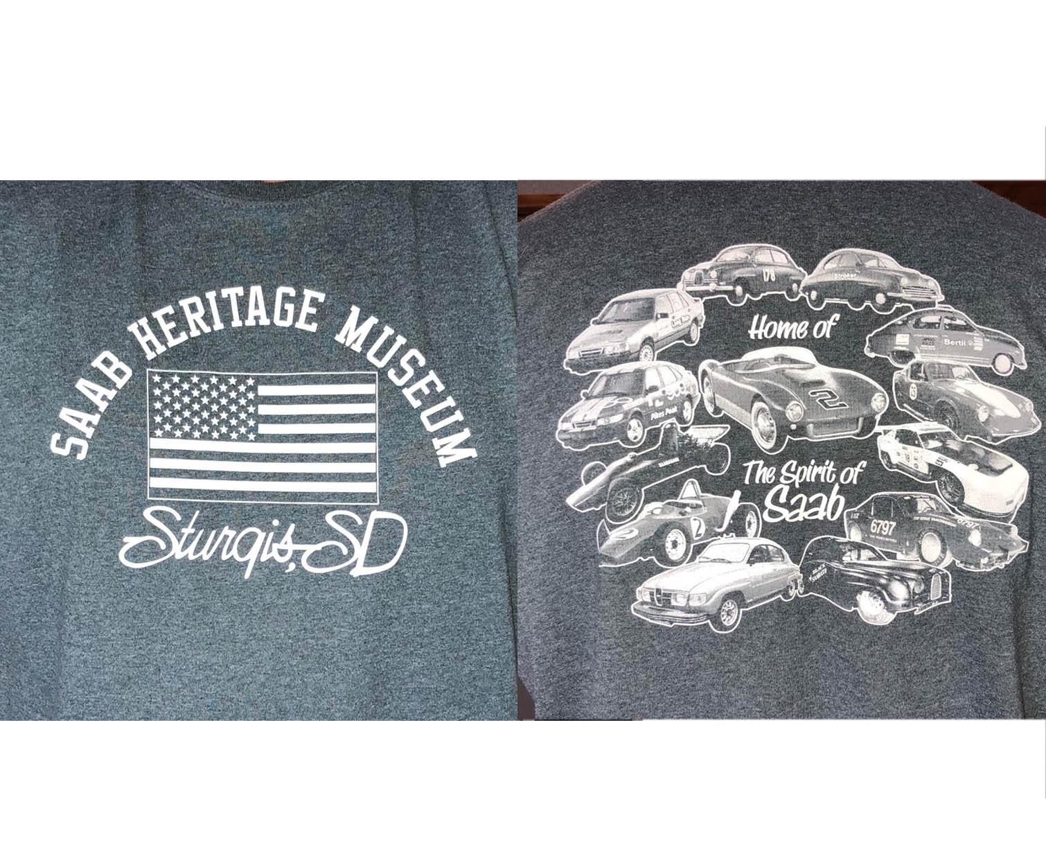 Saab Heritage Museum USA T-Shirt (Grey) Medium (MENS)