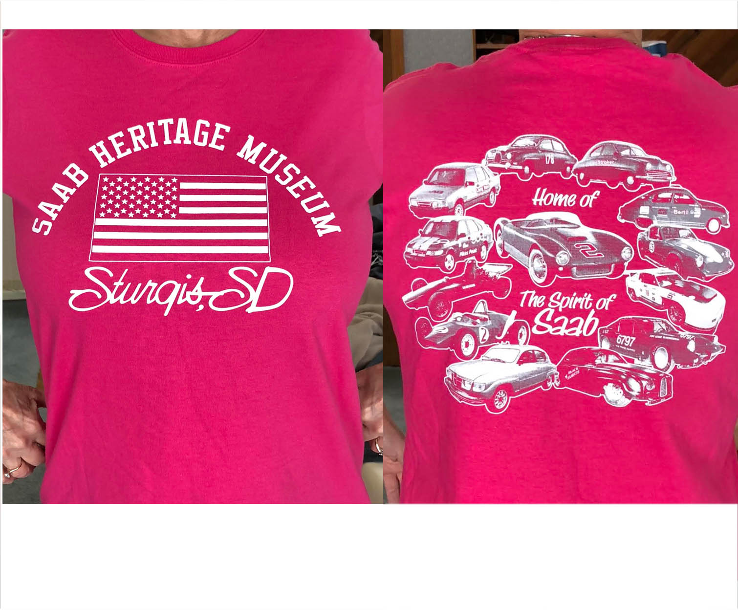Saab Heritage Museum USA T-Shirt (Pink) Small (WOMENS)