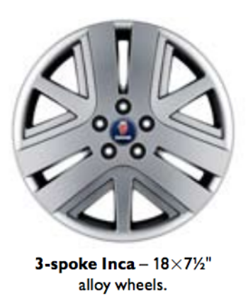 Saab 3-Spoke Inca 18x7.5 Alloy Wheel