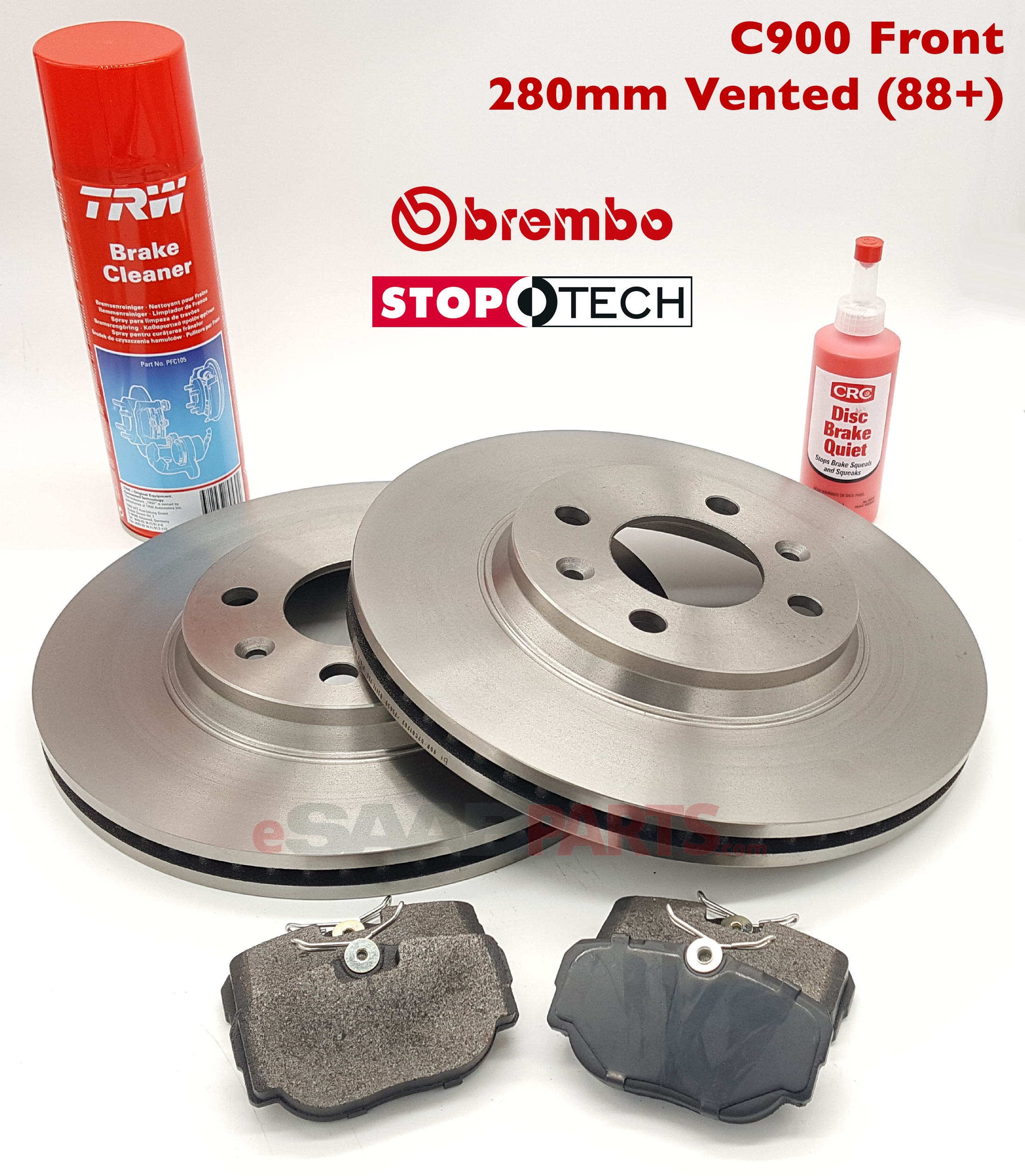 Front Brake Rotors & Pads Kit (C900 1988 up 280mm Vented) [BREMBO / STOPTECH]
