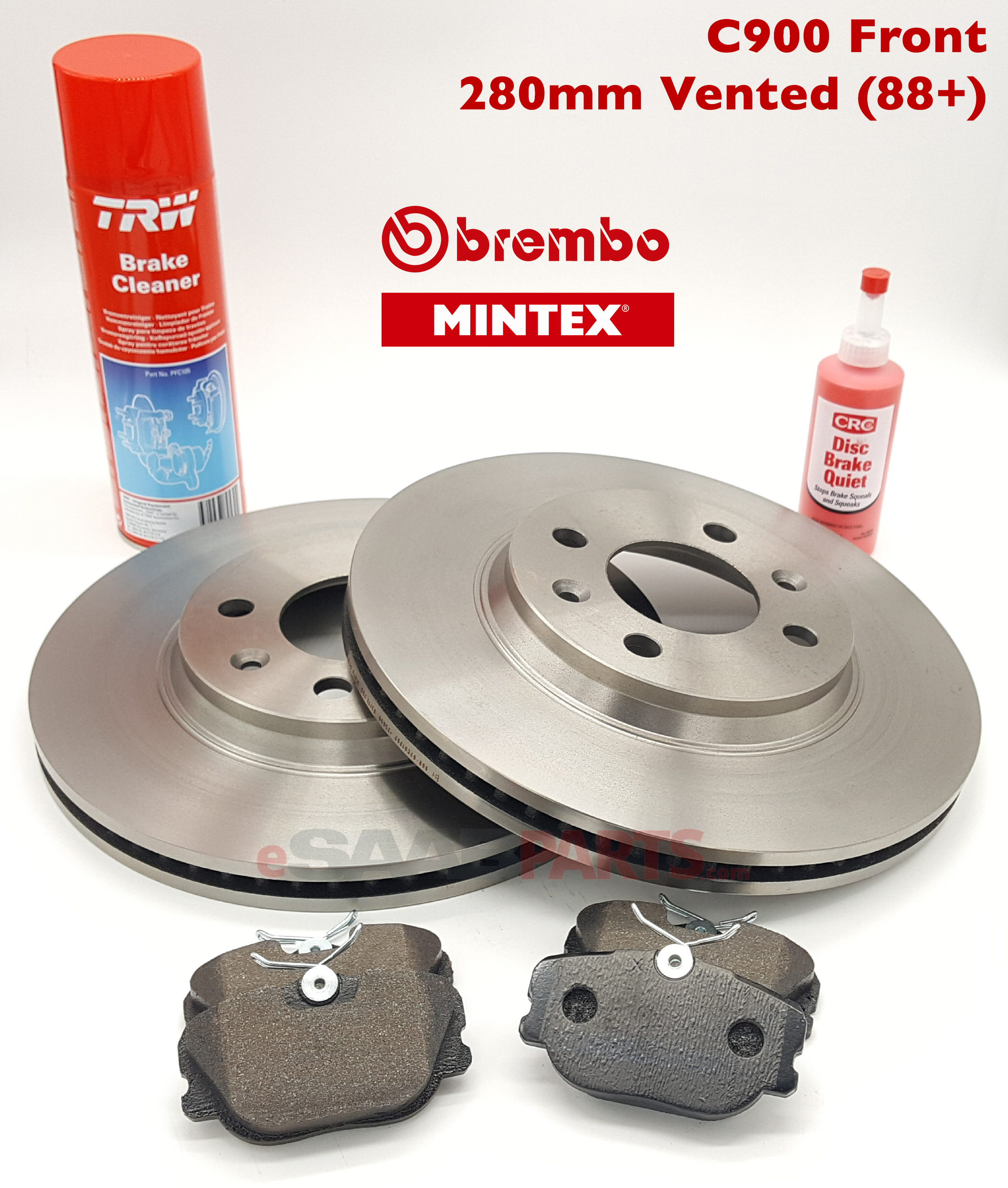 Front Brake Rotors & Pads Kit (C900 1988 up 280mm Vented) [BREMBO / MINTEX]